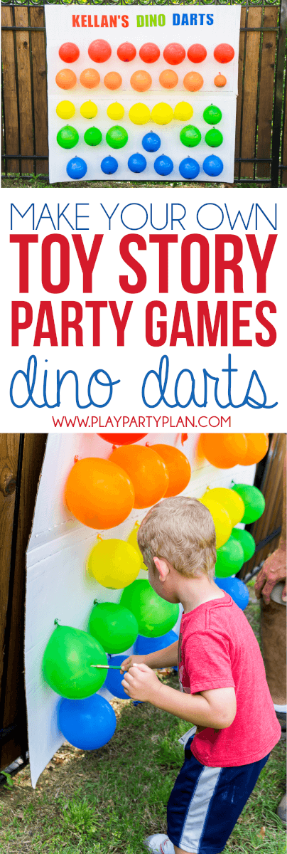 Make your own Toy Story Midway Mania games at home with this fun outdoor games tutorial! Love the idea of this flying dino darts balloon dart game like the one in Toy Story Mania!