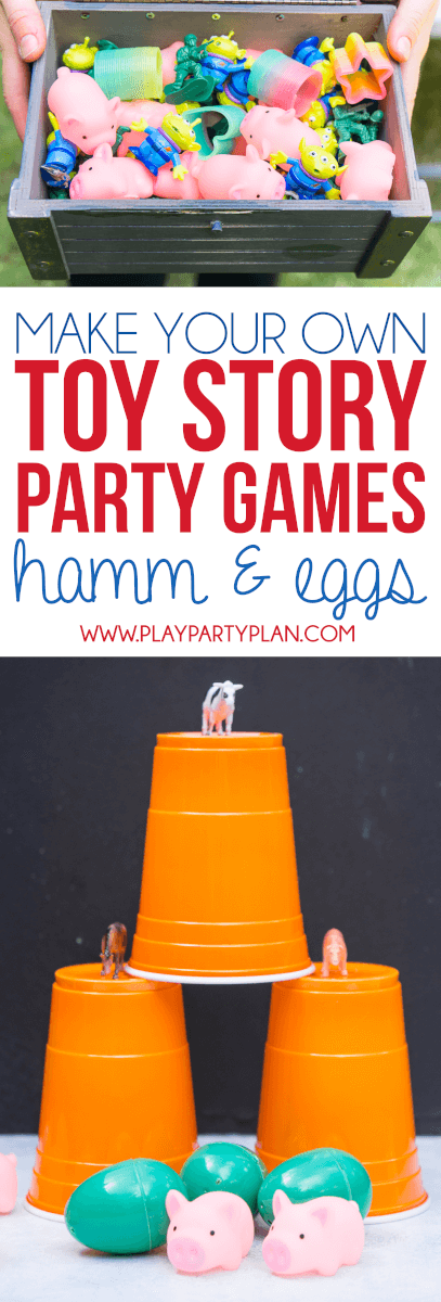 Make your own Toy Story Midway Mania games at home with this fun outdoor games tutorial, like this Hamm & Eggs game! Great ideas for having a little Toy Story Mania of your own at home!