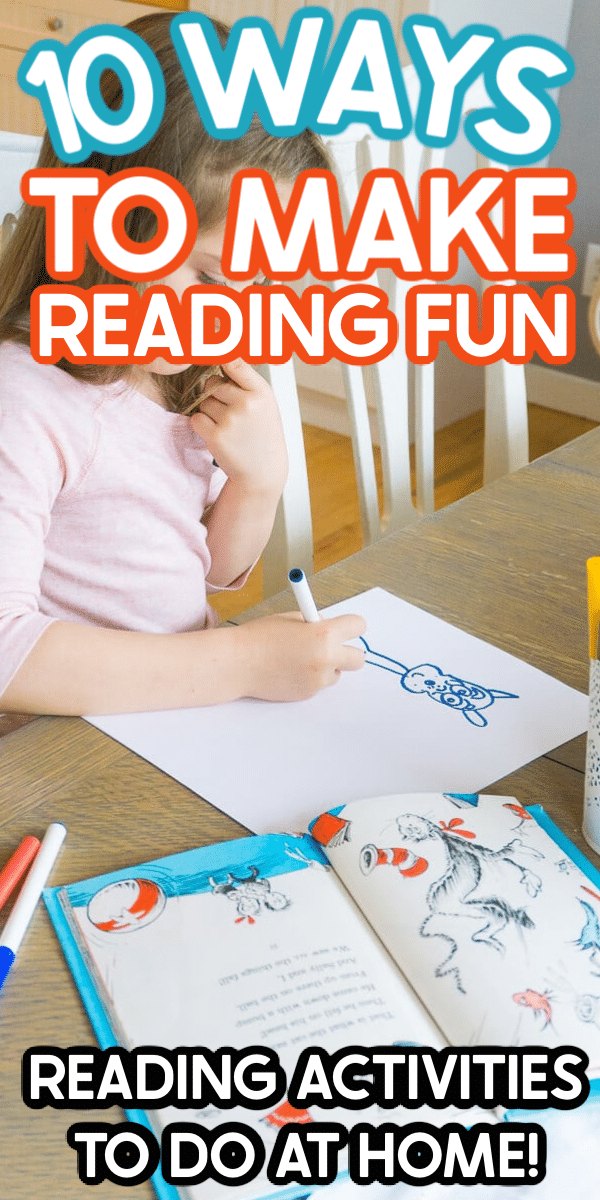 These fun reading activities will make reading at home more fun for all ages! Perfect for anyone looking for how to make reading more fun at home!