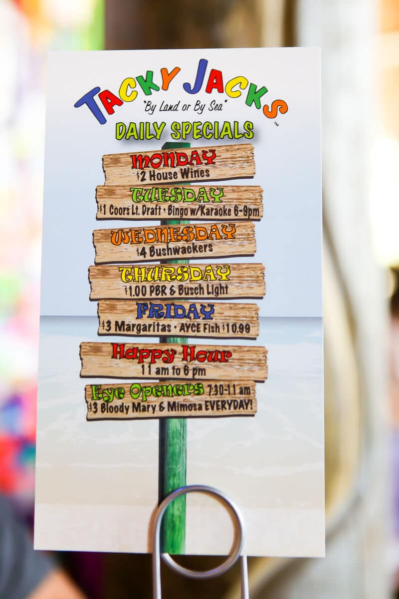 Tacky Jacks is one of the most fun Gulf Shores restaurants with its yummy breakfast menu and fun atmosphere!
