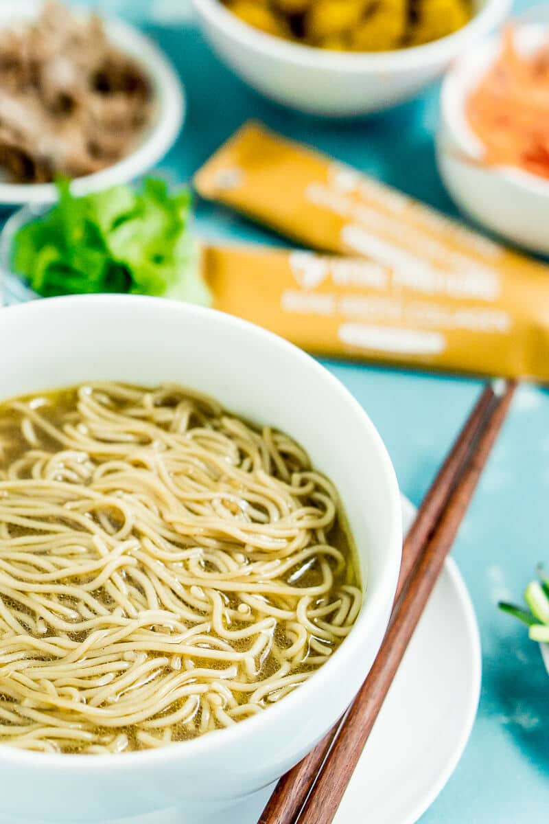 Upgrade your ramen noodles with this delicious pork ramen recipe! It's easy, healthy, and something your entire family will love! Make the soup broth first, add in your noodles, then top with chicken or pork for a great weeknight meal. One of the best ramen noodle recipes I've ever tried!
