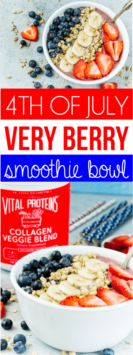 This red white and blue very berry smoothie bowl recipe is not only an easy and healthy breakfast option but also delicious! Add frozen strawberry, a little veggie protein powder, and your favorite berry for one great recipe! via @playpartyplan