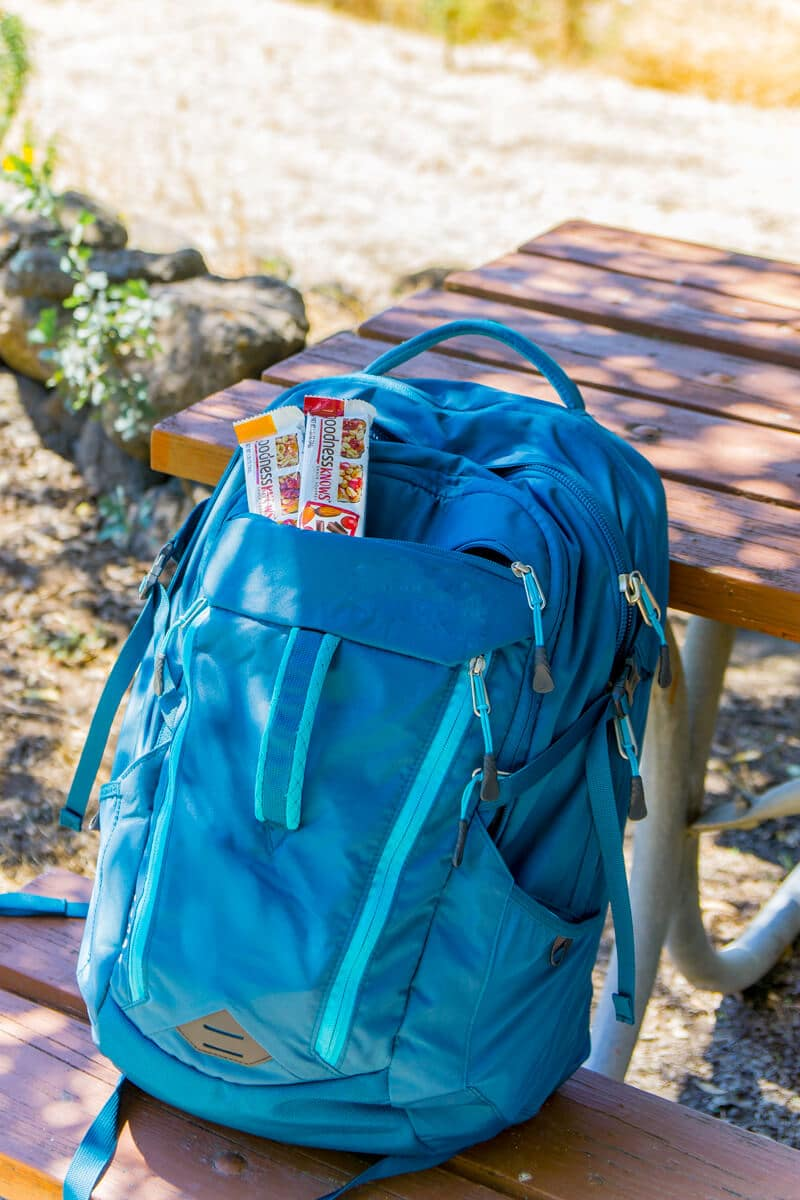 Pack a backpack and go for a hike with healthy snacks.
