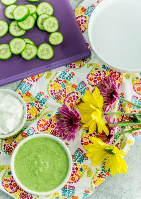 Cucumber face mask made with cucumber, honey, and yogurt!