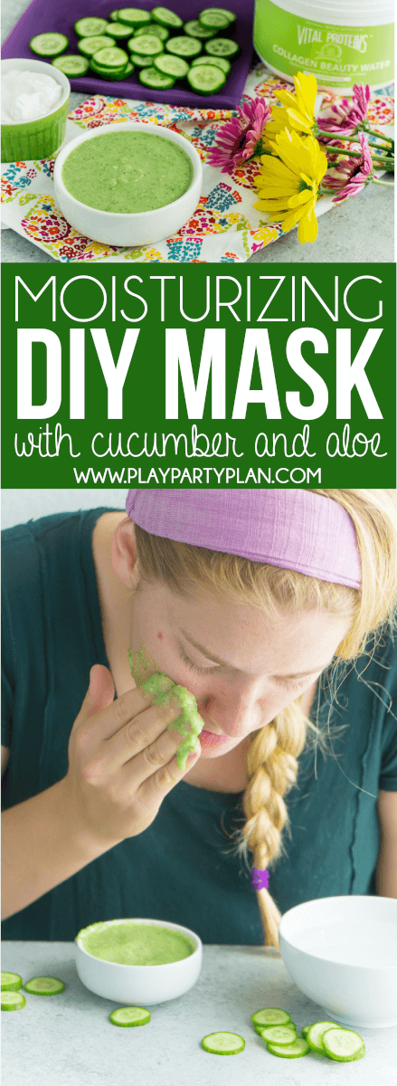 This easy DIY cucumber face mask is perfect for dry skin or skin that just needs a little moisturizing. Filled with cucumber, honey, aloe, and more all-natural ingredients, it's great for homemade facials! via @playpartyplan