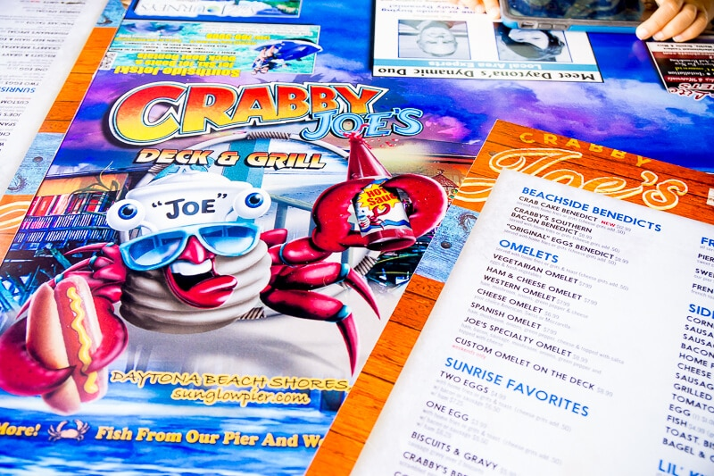 Great menu at Crabby Joe's - a Daytona Beach restaurant!