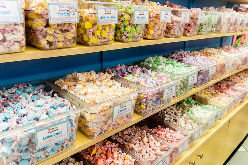 Hundreds of flavors of Taffy at Zeno's Boardwalk Sweet Shop, one of the most popular Daytona Beach restaurants!