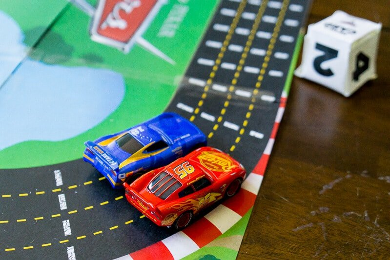 Print out the free Disney Pixar Cars 3 racetrack board game
