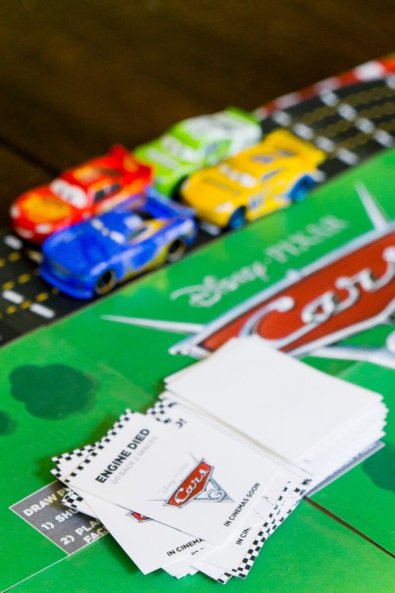 Fun question cards in the Disney Pixar Cars 3 printable board game