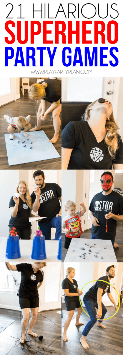 These superhero minute to win it games are the absolute best superhero party games for kids or for adults! Even my toddler loved playing games inspired by his Marvel favorites! Some use food, some are games you DIY, and some even include an obstacle course! And best of all, you can use these minute to win it games as non superhero versions too for a superhero game night!
