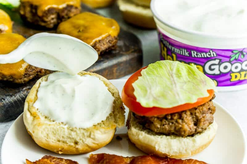 Buttermilk ranch dip is great on top of bacon beef sliders.