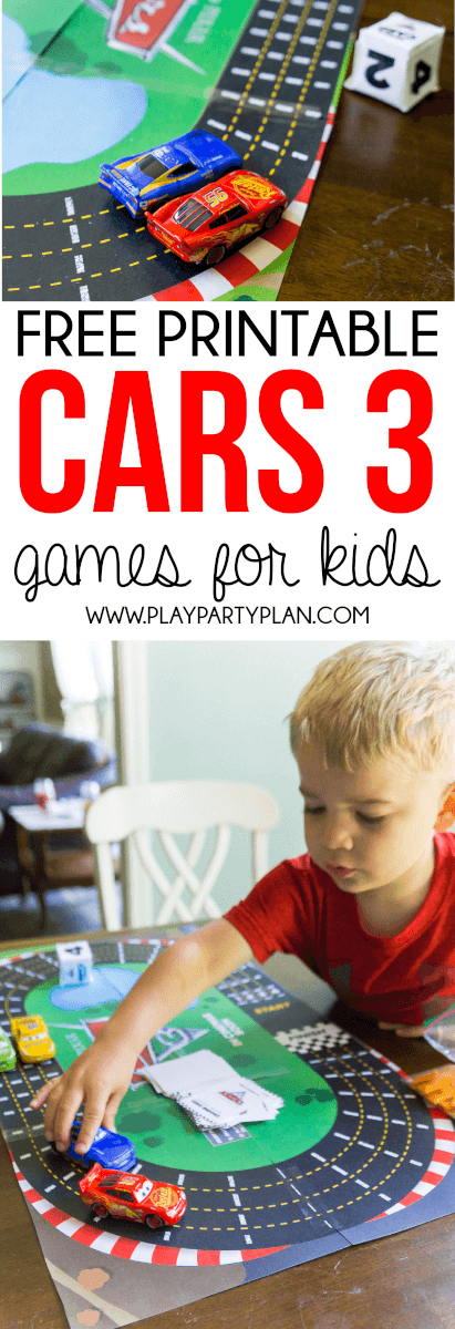 Free printable Disney Pixar Cars 3 games for kids!