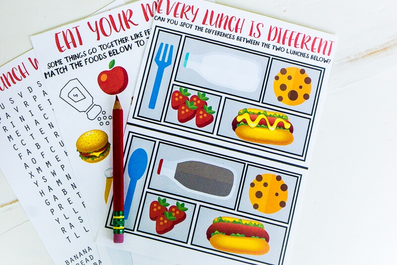 Printable lunch box games for kids