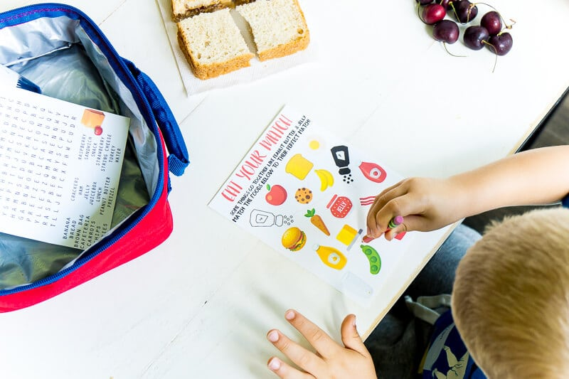 Printable lunch box activities for kids