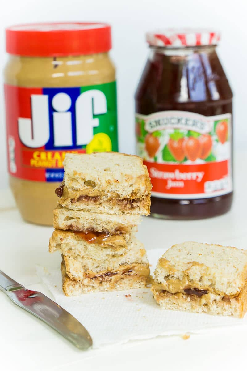 Peanut butter and jelly sandwiches make the best lunch box food