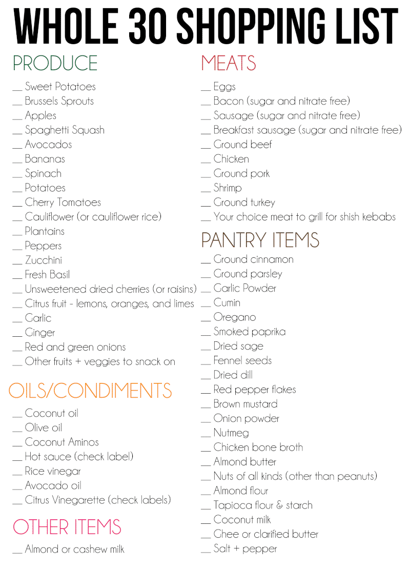 Whole 30 shopping list for the perfect Whole 30 meal plan