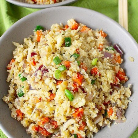 Cauliflower fried rice is a perfect addition to a Whole 30 food plan