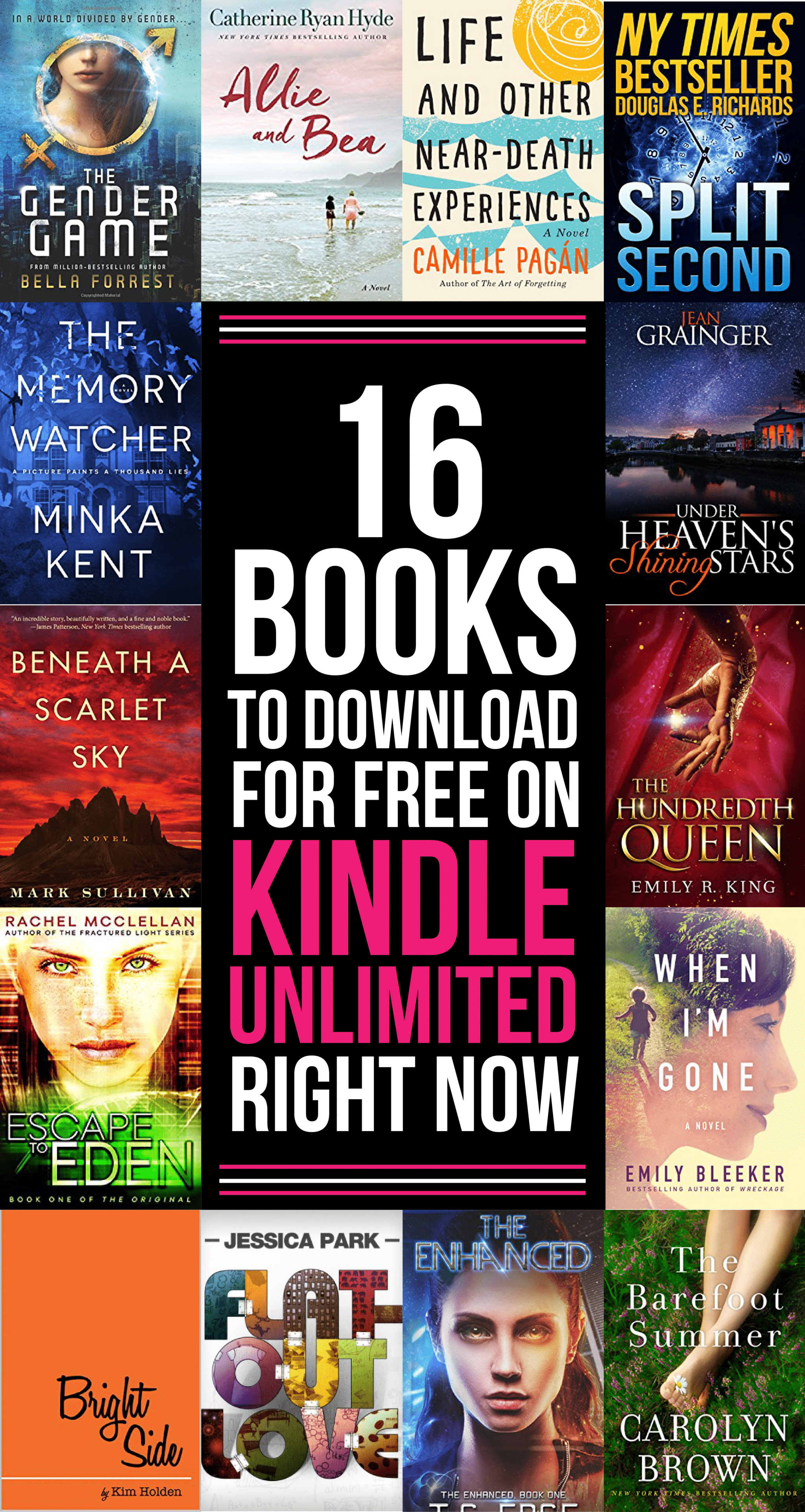 16 great free Kindle books to read with Kindle Unlimited! An entire year's worth of books to add to your Kindle bookshelves! Can't wait to read #8!