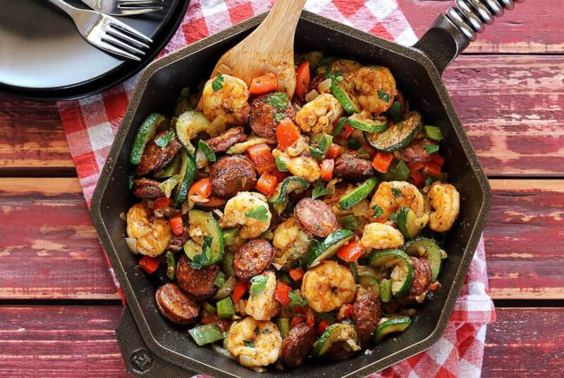 Whole 30 shrimp and sausage skillet