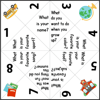 A printable getting to know you board game to play as one of your back to school games