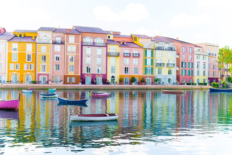Enjoy a walk around the marina at Portofino Bay Hotel