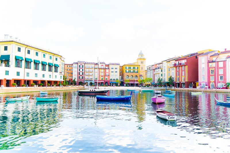 Gorgeous marina area at Loews Portofino Bay Hotel