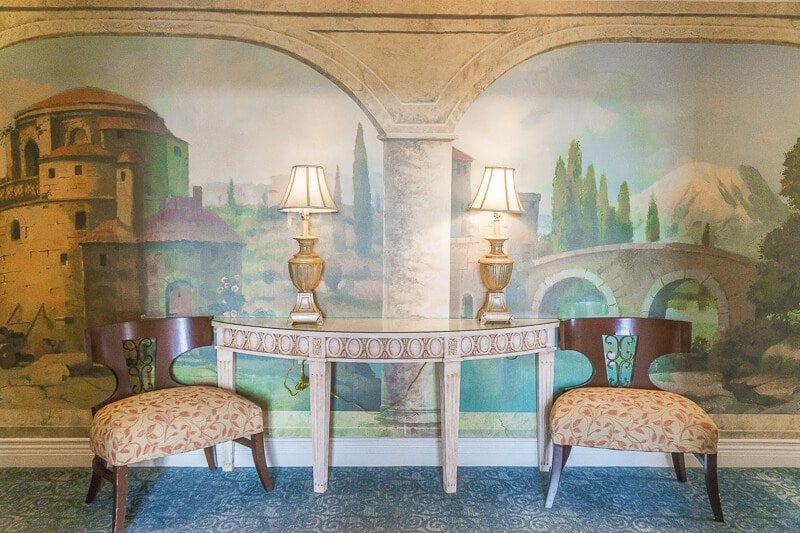 Gorgeous theming even in the hallways at Loews Portofino Bay Hotel