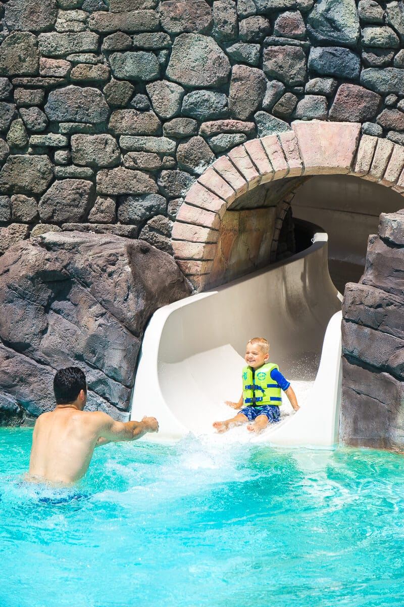 Don't miss the fun water slide at Loews Portofino Bay Hotel