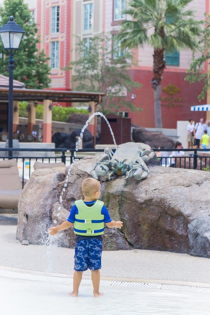 There's a great water play area for kids at Loews Portofino Bay Hotel