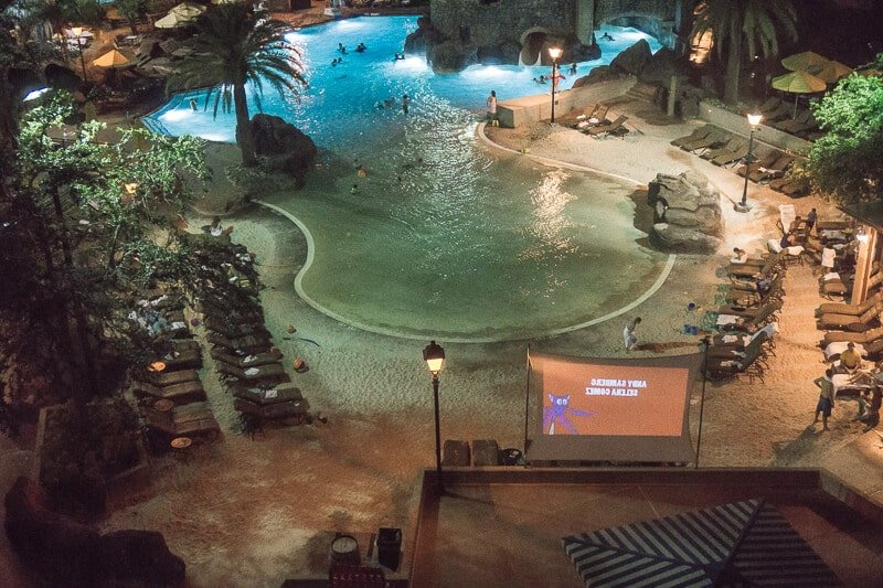 Enjoy a nighttime dive-in movie at Loews Portofino Bay Hotel