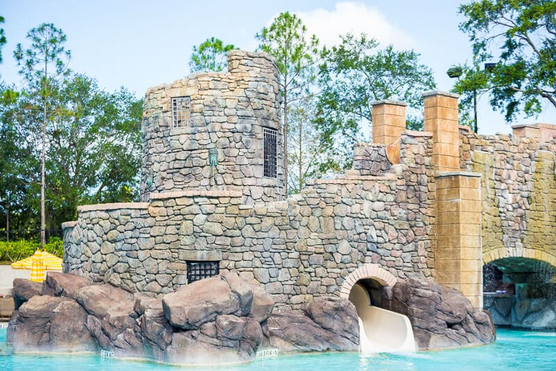 A Roman aquaduct slide is the highlight of the Beach Pool at Loews Portofino Bay Hotel