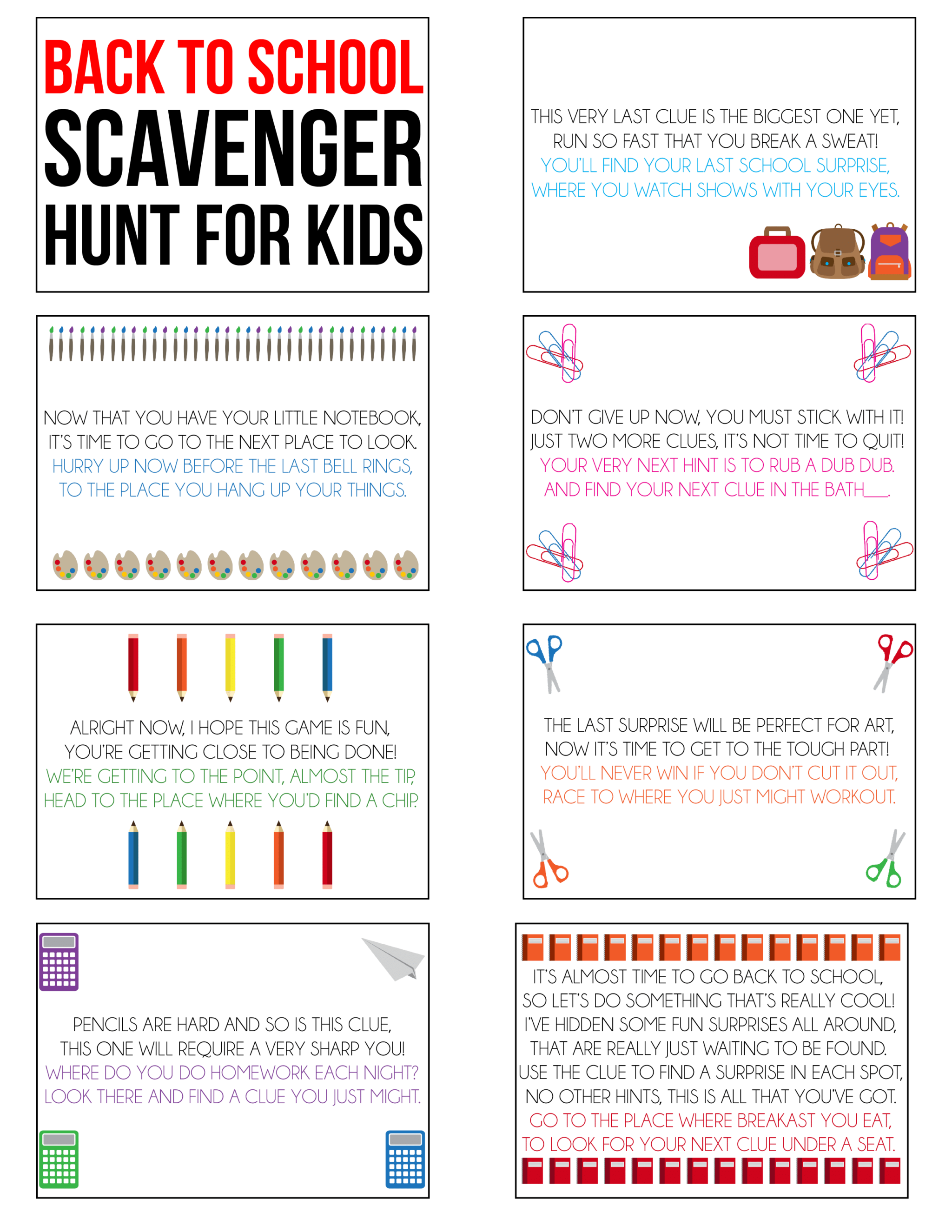 Printable back to school activities for kids