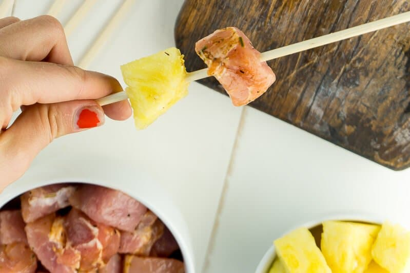 Skewer pork and pineapple for a delicious skewer recipe!