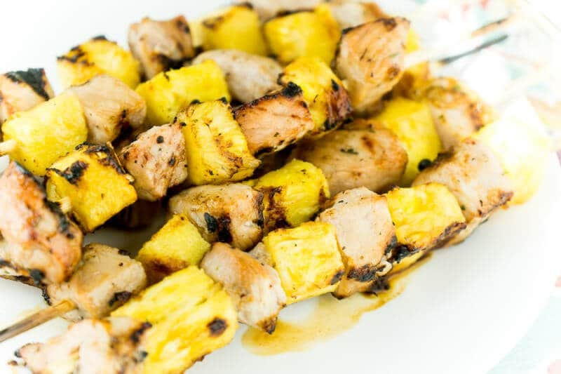 Pineapple and pork skewers with a sweet glaze are the perfect meal!