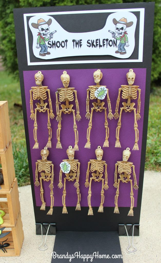 Skeleton shoot board and other Halloween carnival games