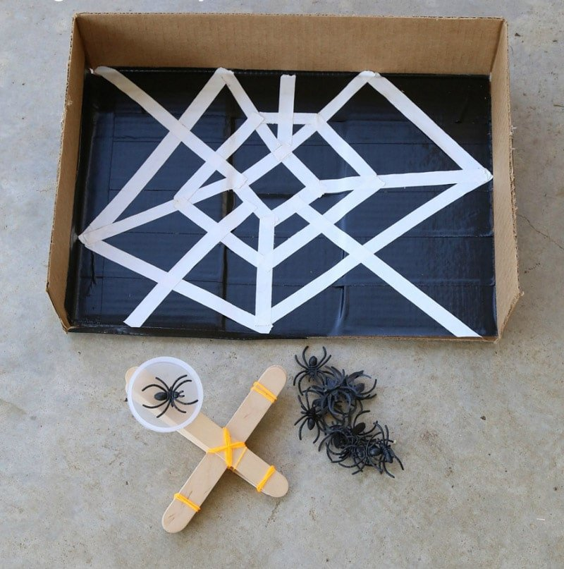 DIY spider launches make fun Halloween games for kids