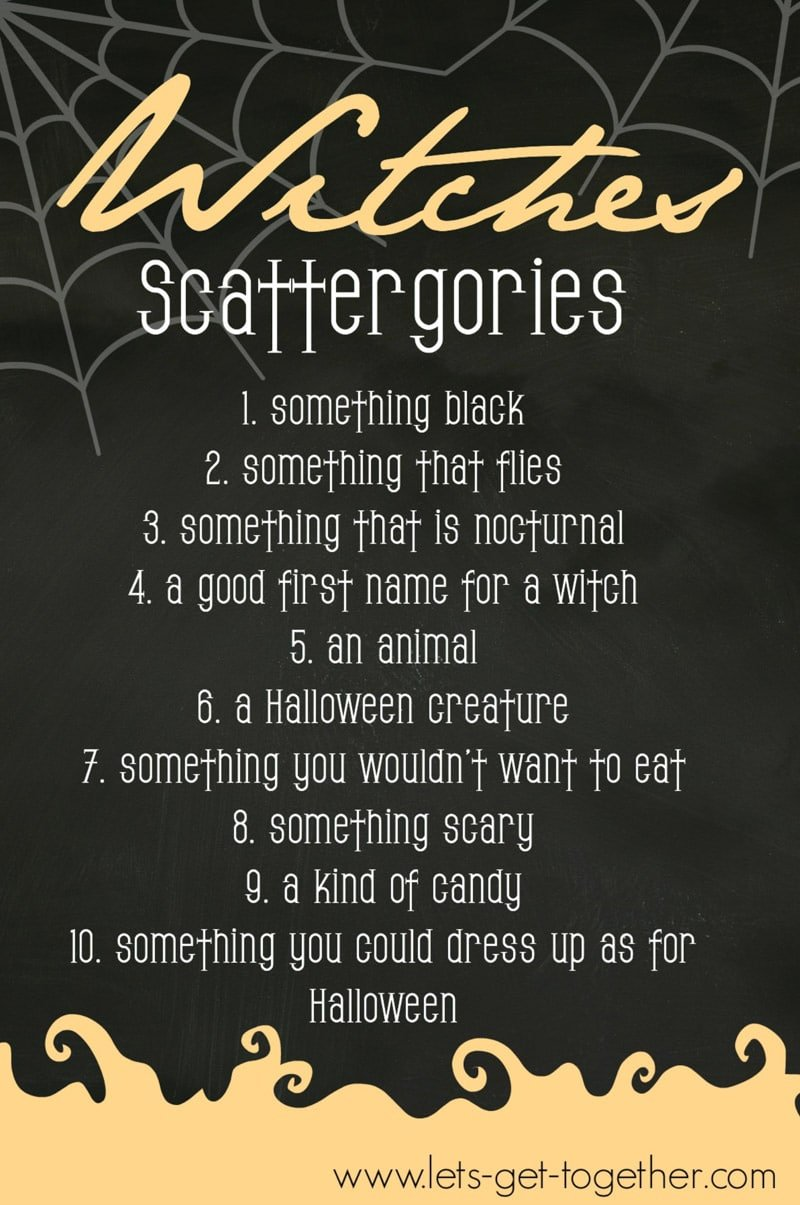 Witches scattergories is one of the best Halloween games for adults