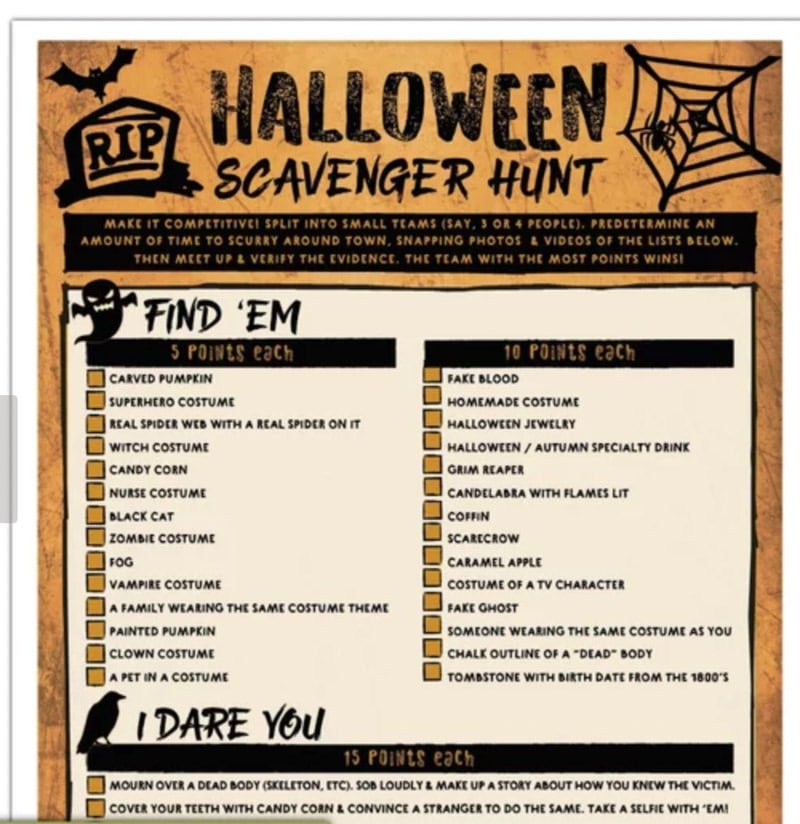 a dare based halloween scavenger hunt is one of the most fun halloween games for adults