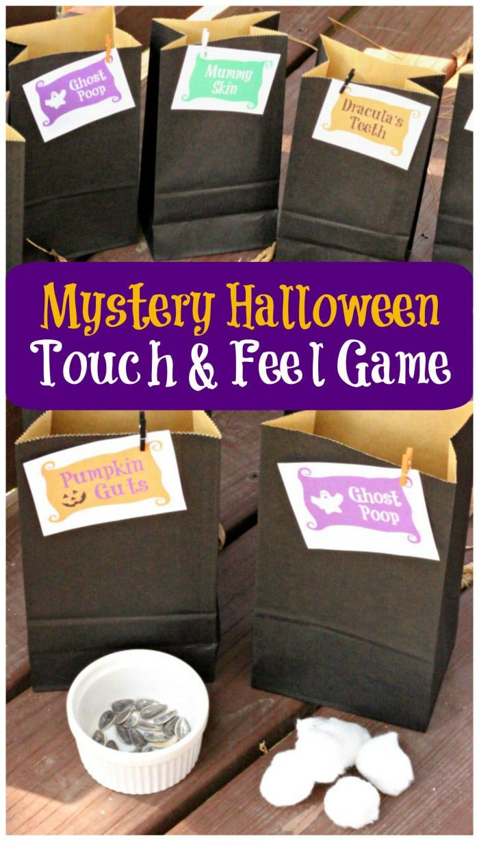 Spooky guess and feel bags make great Halloween games for kids