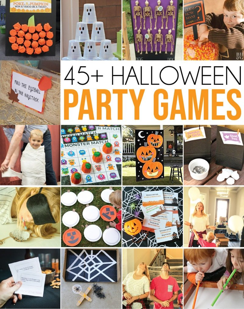 The most awesome Halloween party games for all ages - tons of great ideas for adults, for kids, and even for seniors! Whether you're planning an outdoor family Halloween party or a classroom party for school - these are the best of the best Halloween games out there! via @playpartyplan