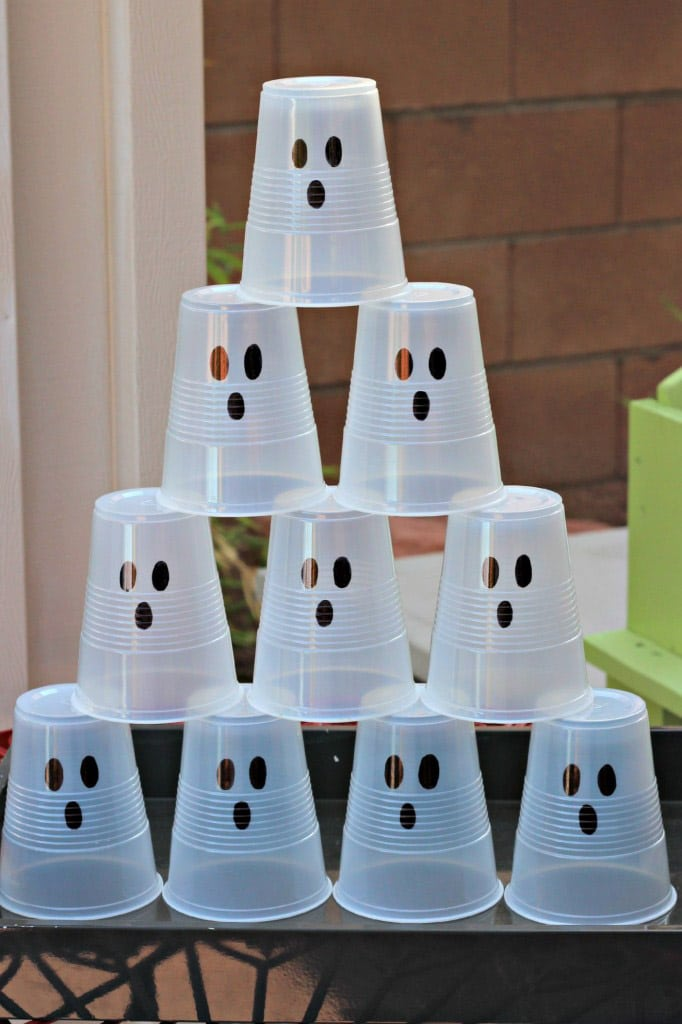 Ghost cups lined up for one of the most fun Halloween games