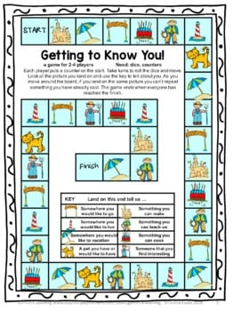 Fun back to school games like this printable getting to know you board game