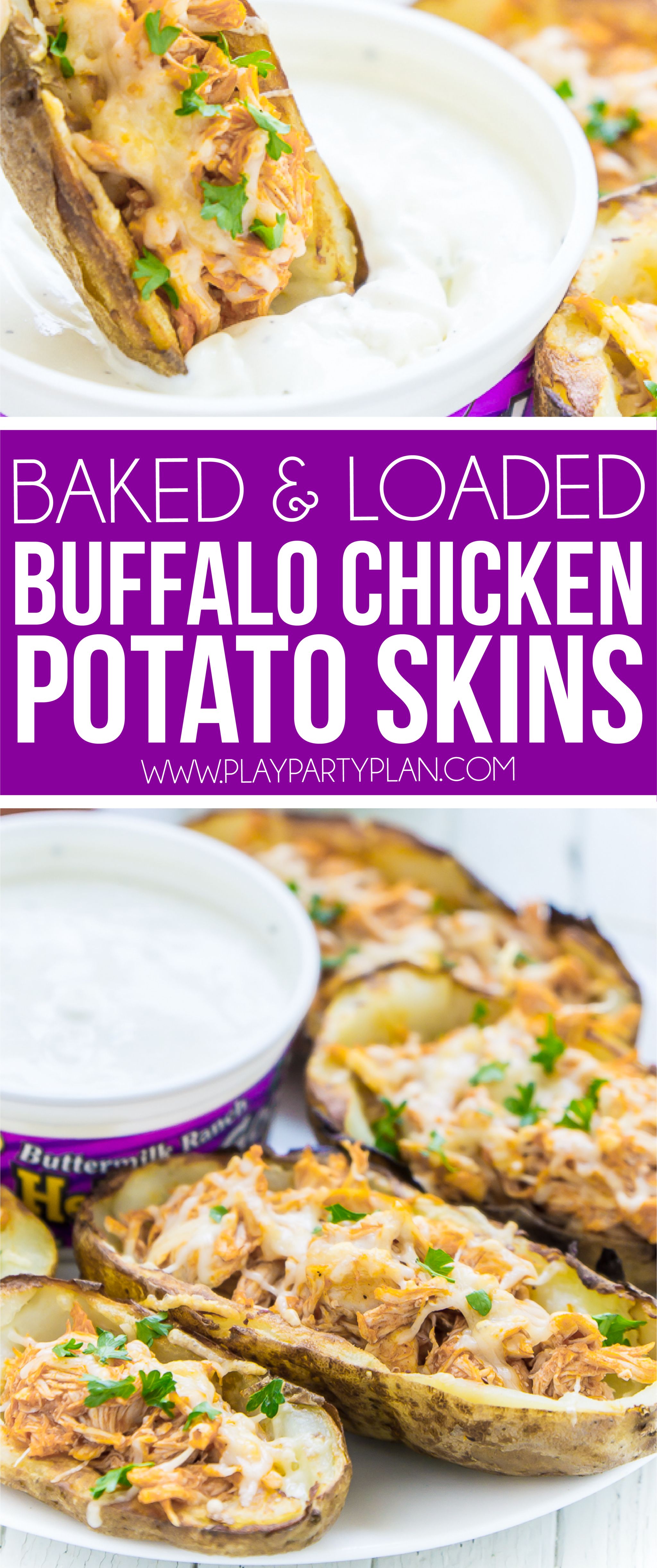 This buffalo chicken stuffed potato skins recipe is one of the best appetizer recipes ever! It's easy, quick to make, and loaded with homemade buffalo chicken filling! And because they're baked and homemade, they're almost even healthy - compared to ones you'd get at a restaurant. A perfect football party food! via @playpartyplan