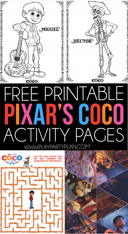 Free Printable Pixar Coco Coloring Activity Pages