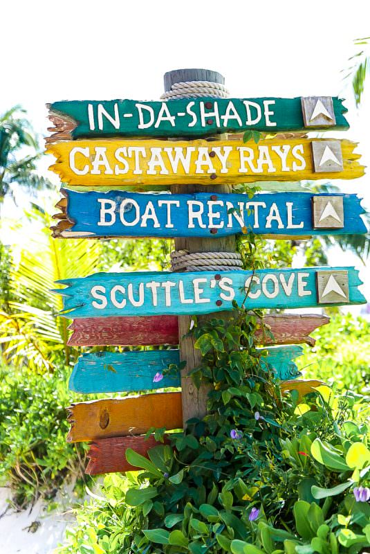 Signs at Disney Castaway Cay pointing where to go