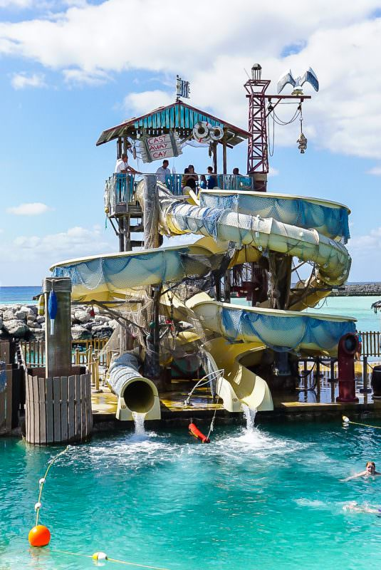 Pelican's Plunge at Castaway Cay has water slides for kids