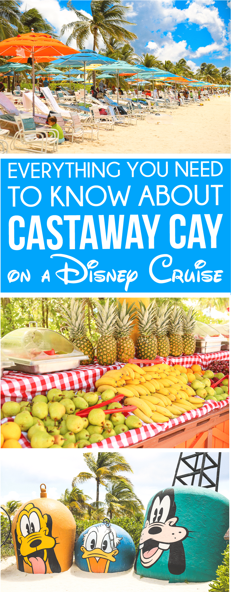 Insider tips for visiting Disney Castaway Cay with kids! Everything from the food that's included to activities to do and even how to spend some adult time at Serenity Bay! Tons of other great Disney Cruise secrets too! via @playpartyplan