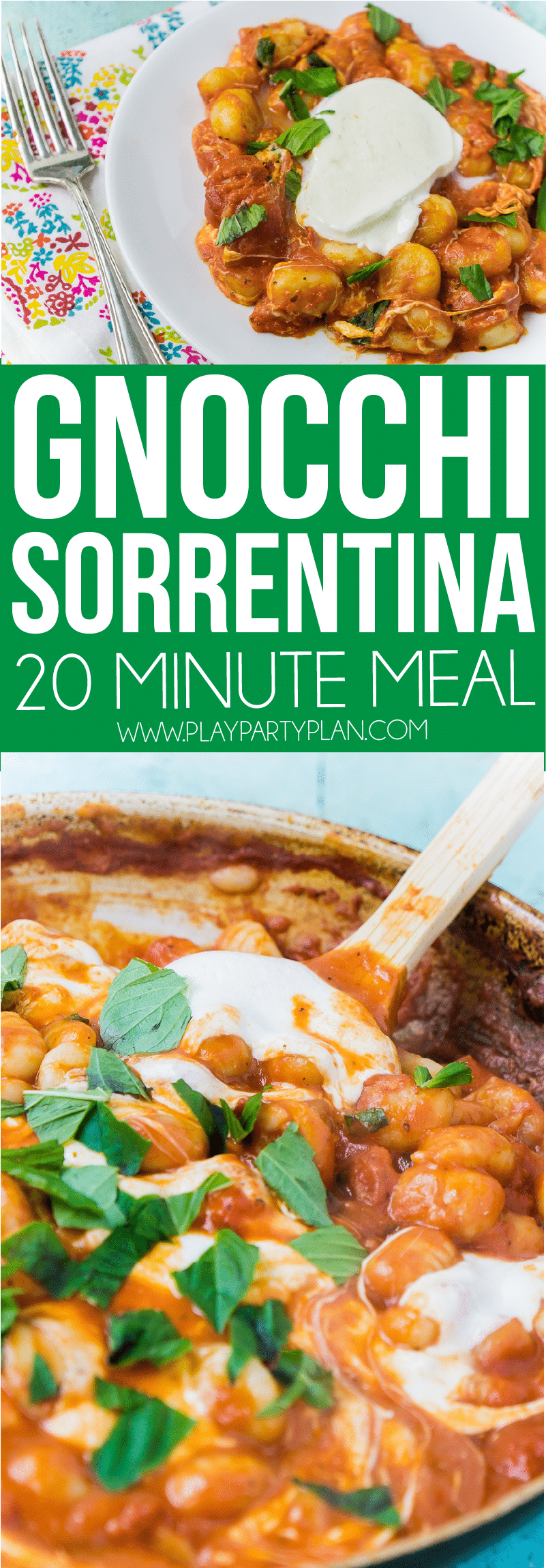 This gnocchi Sorrentina is one of the best gnocchi recipes! It's easy, healthy, and great for anyone, even a vegetarian! And best of all, its just four ingredients - tomato sauce, cheese, gnocchi, and fresh basil! One of the dinners we make every week! via @playpartyplan