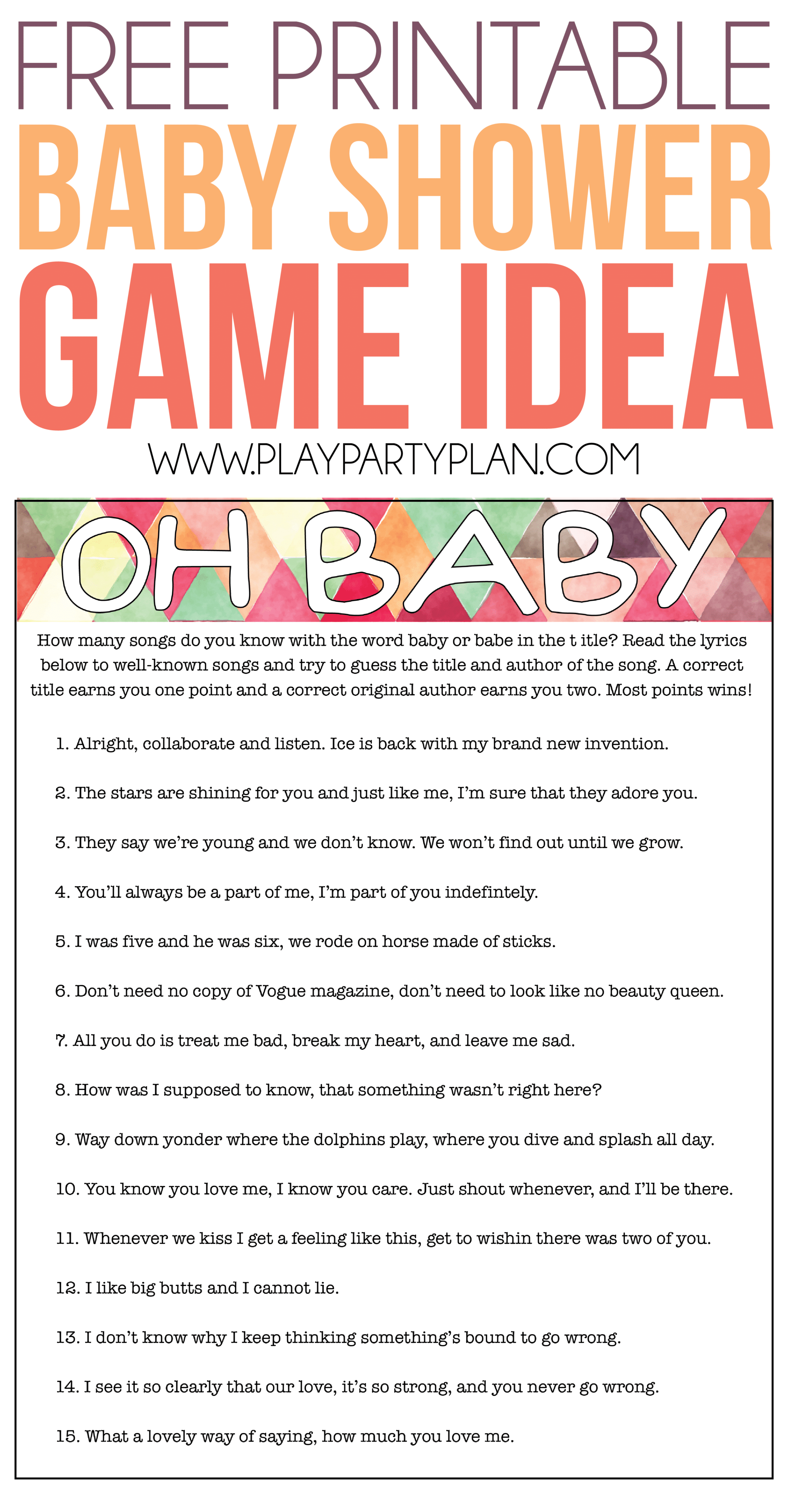 Oh Baby Free Printable Baby Shower Game Expecting Moms Will Love