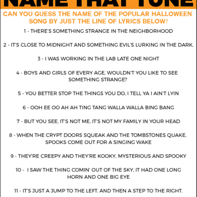 Free Printable Halloween Name that Tune Game